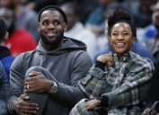 LeBron James and Savannah Brinson at the Ohio Scholastic Play-By-Play Classic in 2019