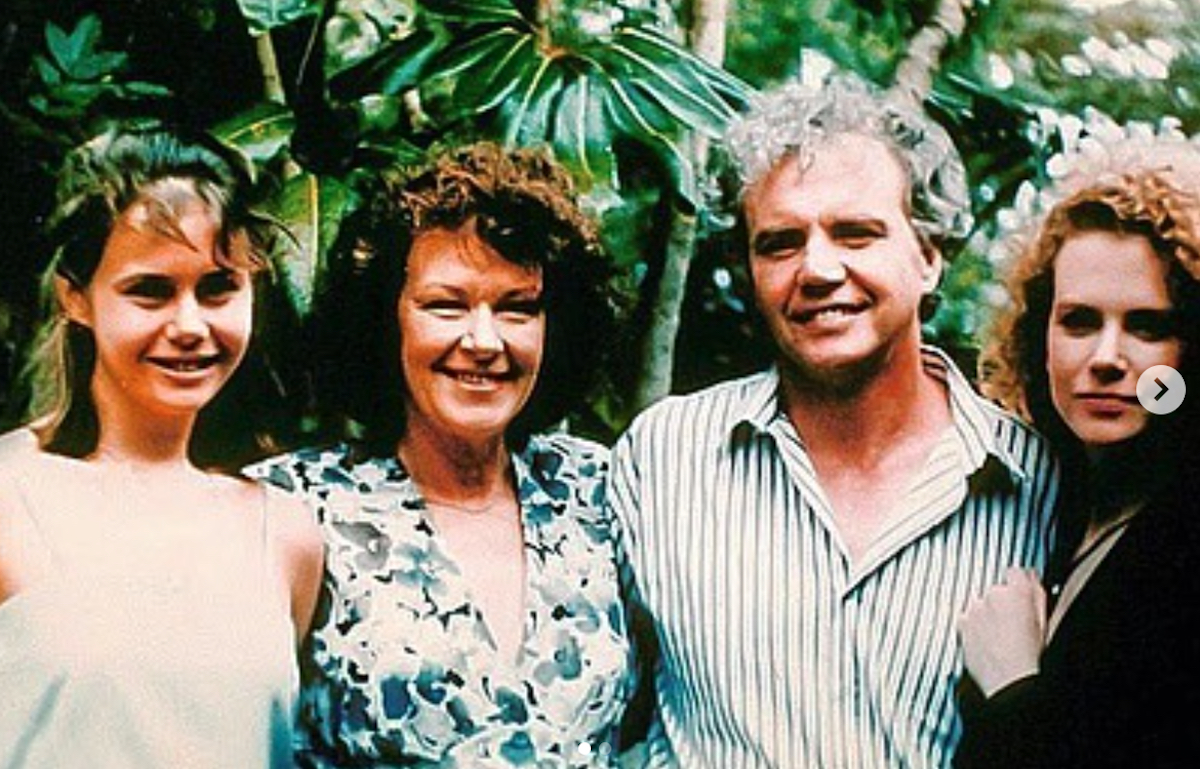 An old photo of Nicole Kidman with her sister and parents