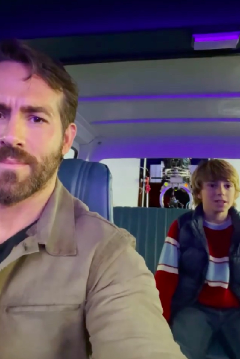 Ryan Reynolds and Walker Scobell on The Adam Project set