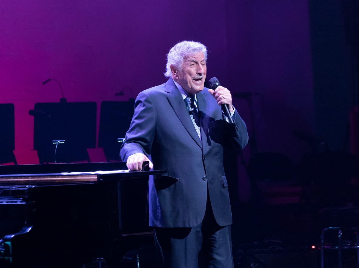 Tony Bennett performing during Jazz Foundation of America benefit concert at the Apollo Theater in Harlem, New York in 2019