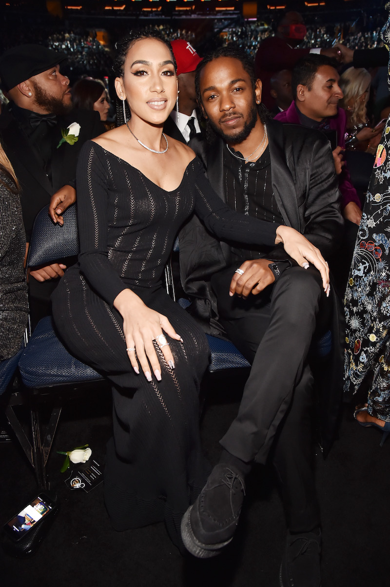 Whitney Alford and Kendrick Lamar at the 2018 Grammys