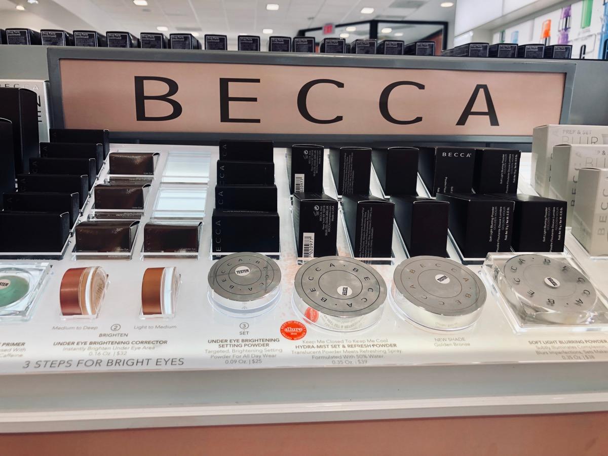 becca cosmetics makeup display