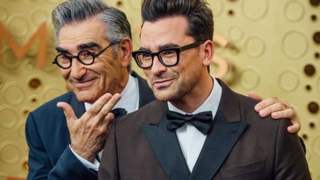 Eugene and Dan Levy at the Emmy Awards in 2019