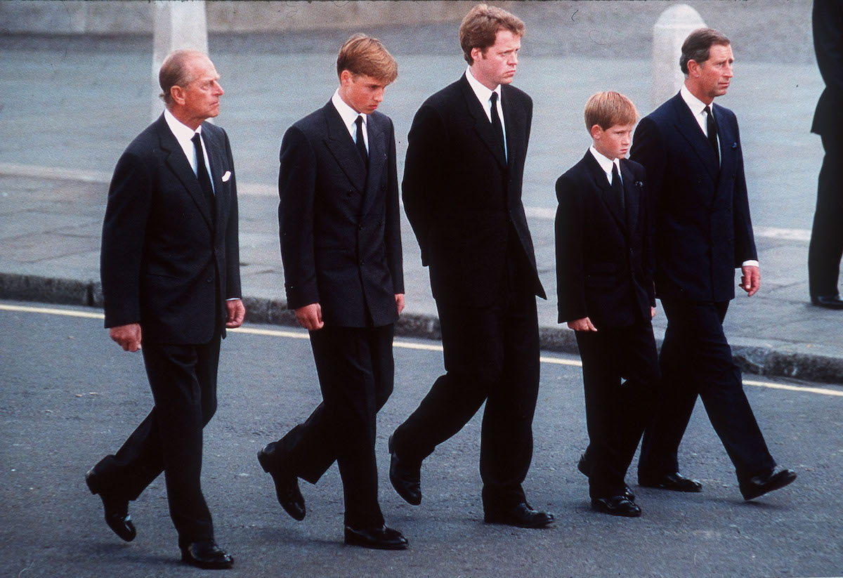 The Duke of Edinburgh, Prince William, Earl Spencer, Prince Harry and the Prince of Wales follow the coffin of Diana, Princess of Wales in September 1997.