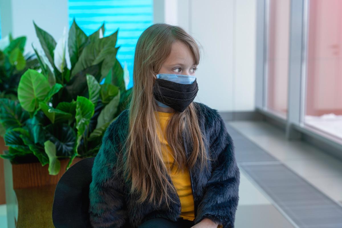 Girl wearing two masks