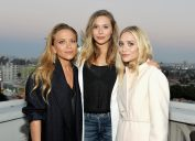 Designer Mary-Kate Olsen, actor Elizabeth Olsen, and designer Ashley Olsen attend Elizabeth and James Flagship Store Opening Celebration with InStyle at Chateau Marmont on July 26, 2016 in Los Angeles, California