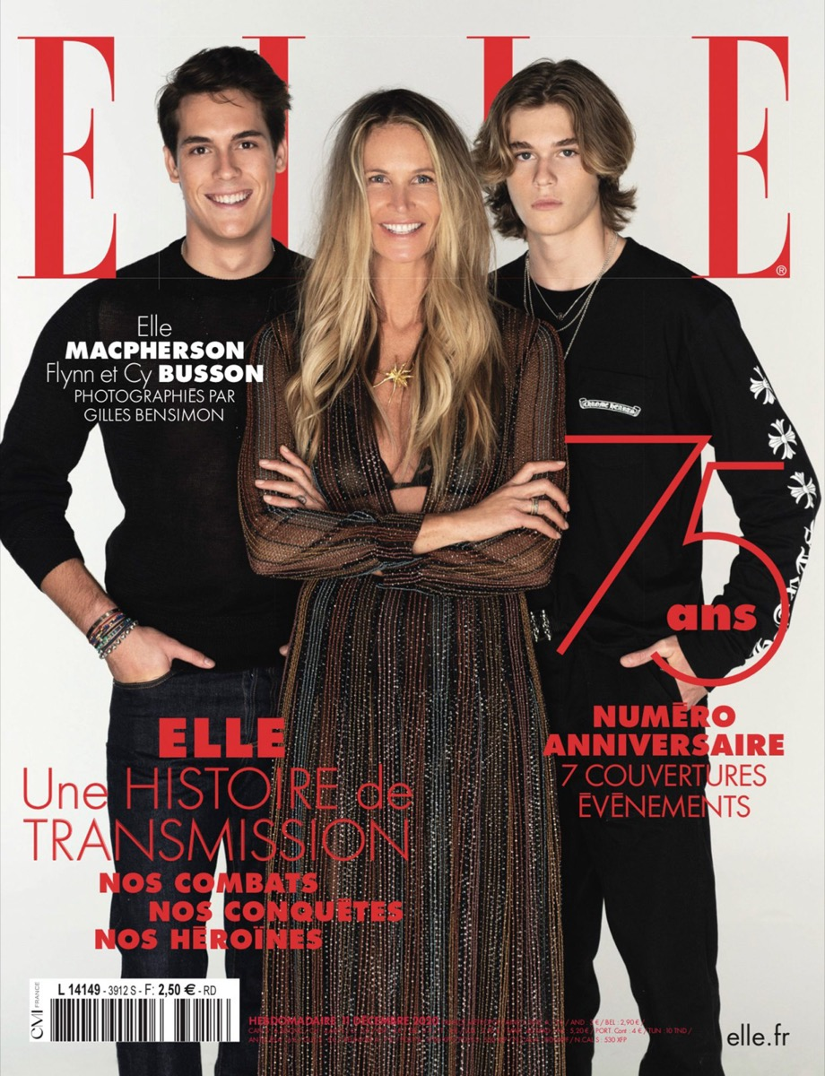 elle macpherson and her two sons in dark outfits posing on Elle France cover