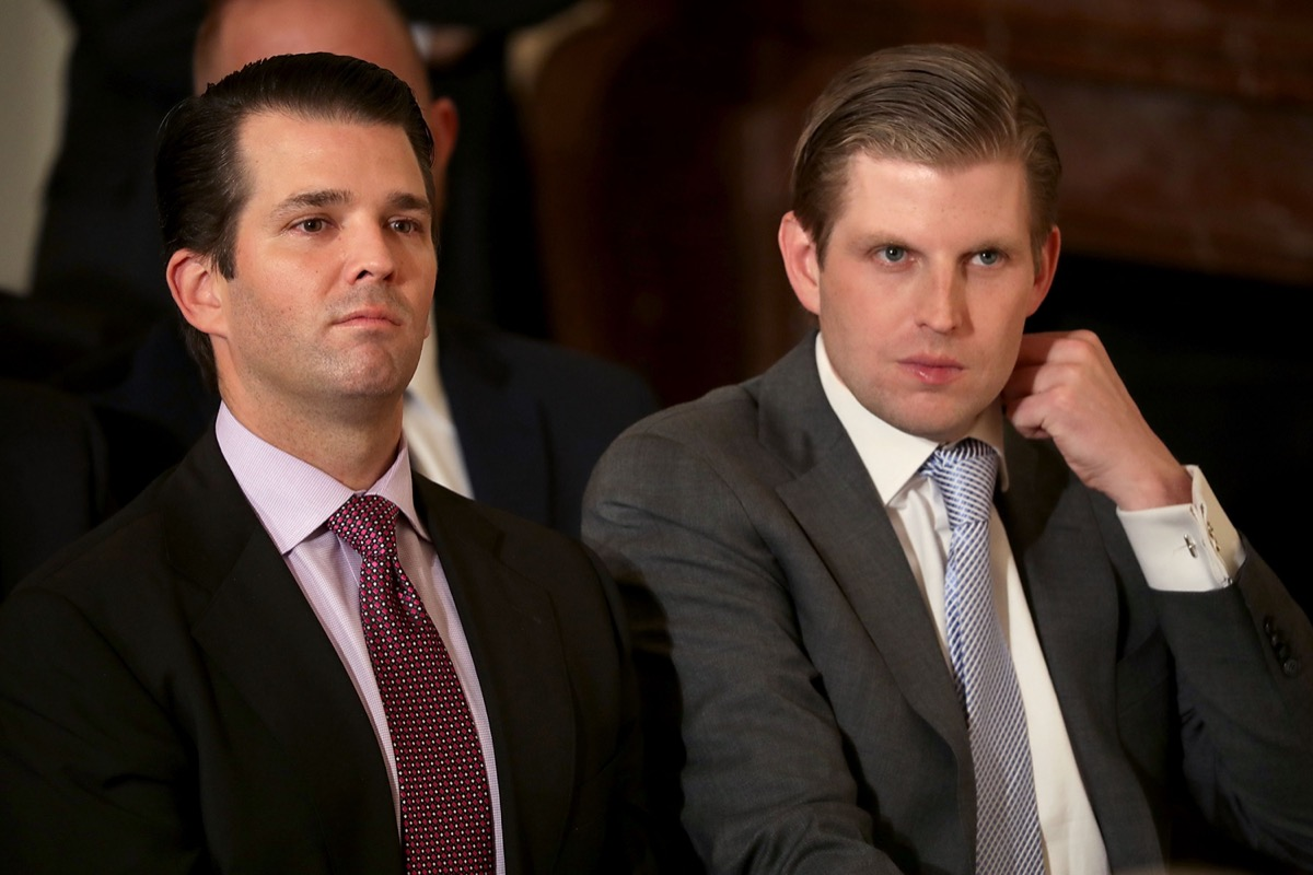 Eric Trump and Donald Trump Jr. at the ceremony to nominate Judge Neil Gorsuch to the Supreme Court