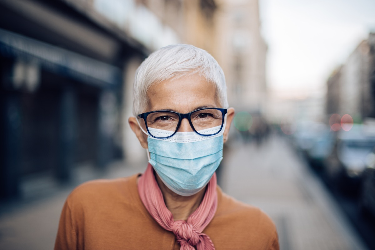 Portrait of a senior woman wearing a protective face mask