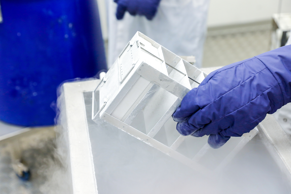 A hand wearing a purple protective glove removes vaccine doses from a freezer