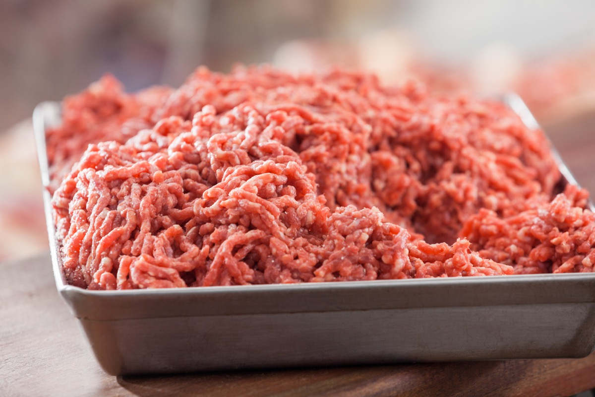 tray of ground beef