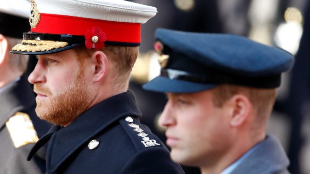 Prince Harry, Duke of Sussex and Prince William, Duke of Cambridge attend the annual Remembrance Sunday service at The Cenotaph on November 10, 2019 in London, England