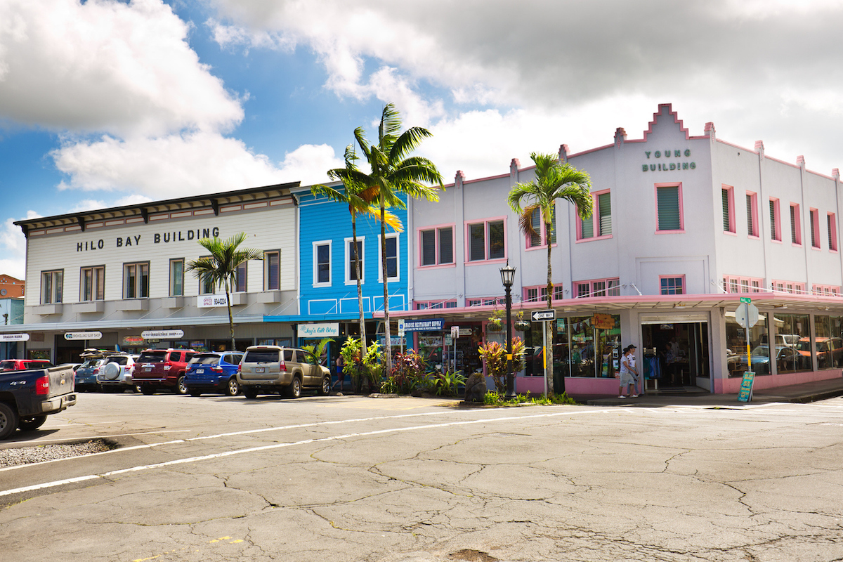 The vibrant historic downtown, tourist and retail district of the city of Hilo on the Big Island of Hawaii