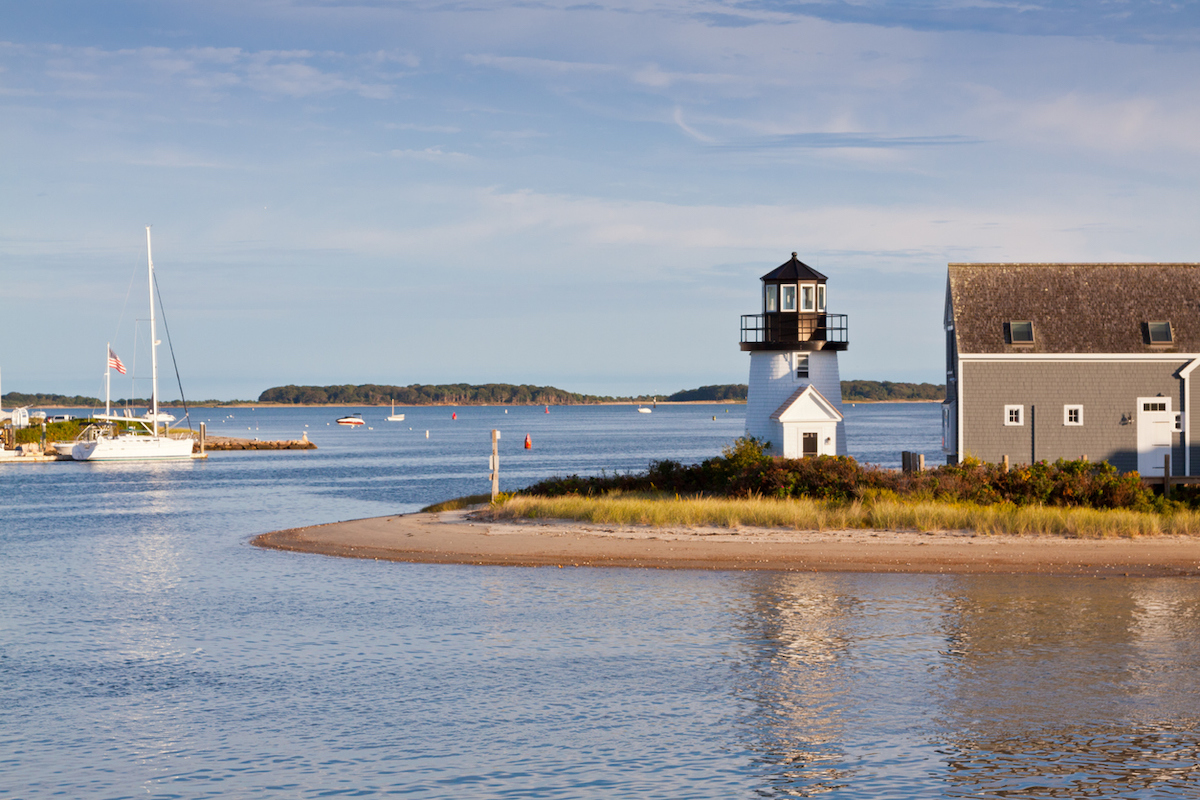 Lighthouse at Hyannis (Lewis Bay Light), Nantucket sound, Cape Cod, Massachusetts.