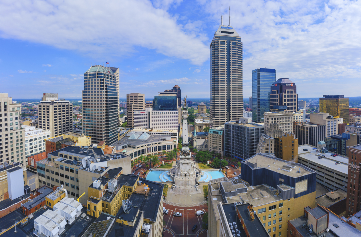 The skyline of Indianapolis, Indiana
