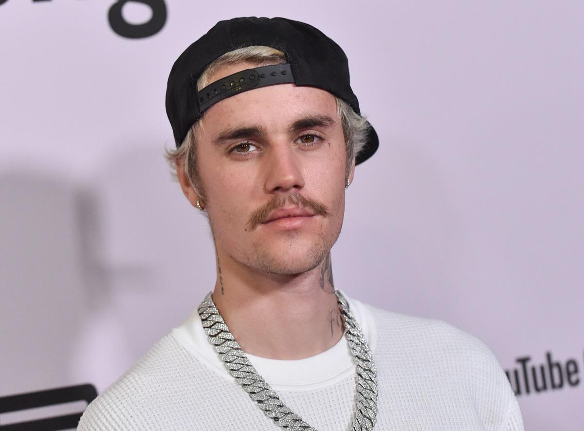 "Justin Bieber at the premiere Of YouTube Originals' ""Justin Bieber: Seasons"" in 2020"