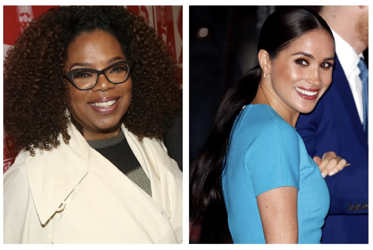 """Oprah Winfrey poses backstage at the hit musical based on the film """"Tootsie"""" on Broadway at The Marquis Theater on May 14, 2019 in New York City; Meghan, Duchess of Sussex attends The Endeavour Fund Awards at Mansion House on March 5, 2020 in London, England."""