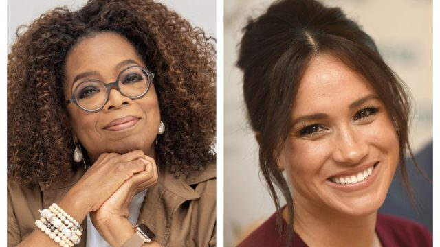 """Oprah Winfrey at the """"David Makes Man"""" Press Conference at the Four Seasons Hotel on August 06, 2019 in Beverly Hills, California; eghan, Duchess of Sussex, attends a roundtable discussion on gender equality with The Queens Commonwealth Trust (QCT) and One Young World at Windsor Castle on October 25, 2019 in Windsor, England."""