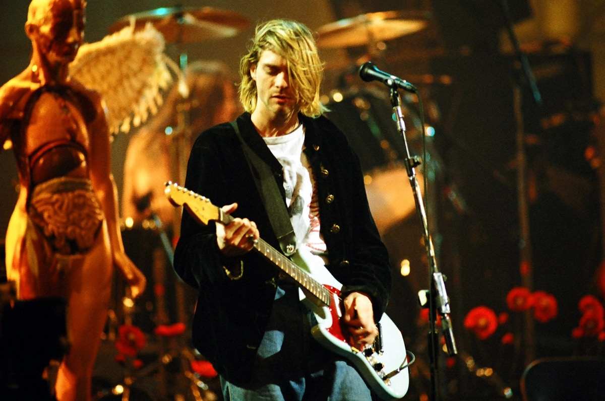Kurt Cobain performing with Nirvana during the MTV Live and Loud: Nirvana Performs Live in 1993