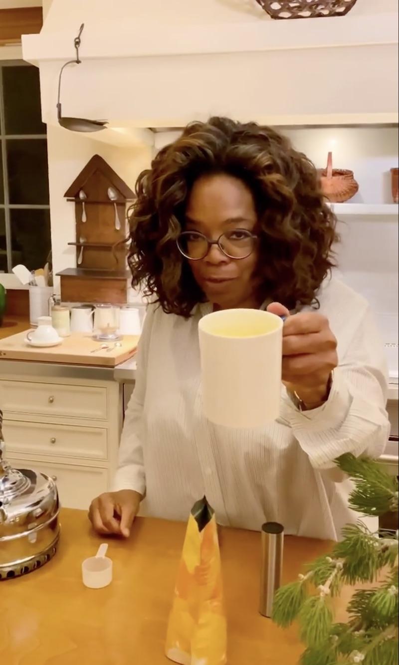 Oprah opens Christmas gift from Meghan Markle