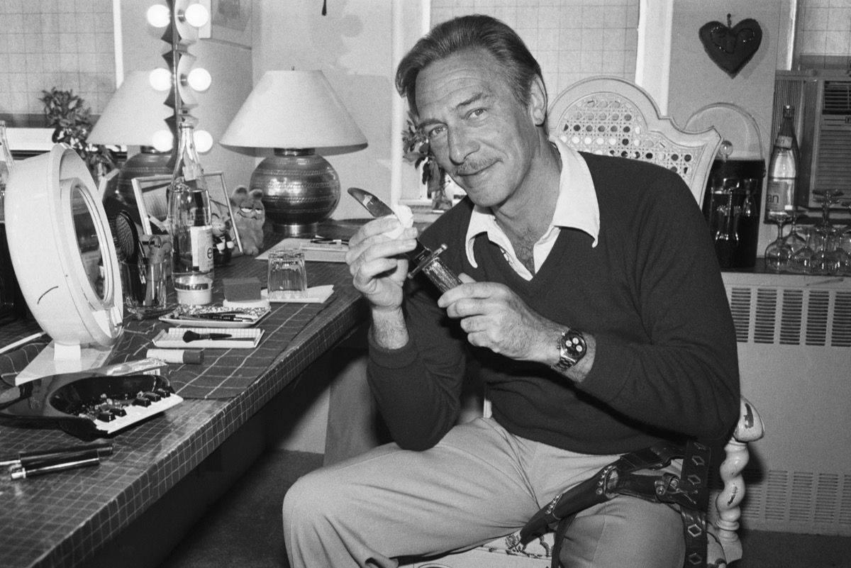 Christopher Plummer Cleaning Dagger backstage for Othello