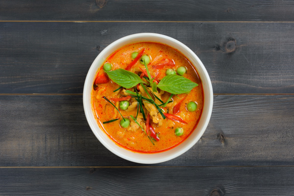panang curry or red curry in white bowl