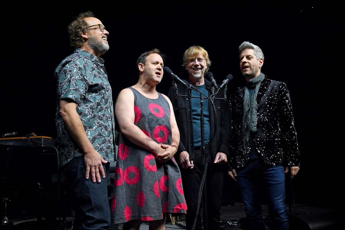 Phish band performing at an exclusive concert for SiriusXM and Pandora listeners in 2019