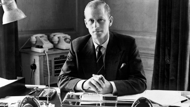 The Duke of Edinburgh at his desk in Buckingham Palace, London