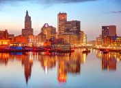 The skyline of Providence, Rhode Island from the water at dusk