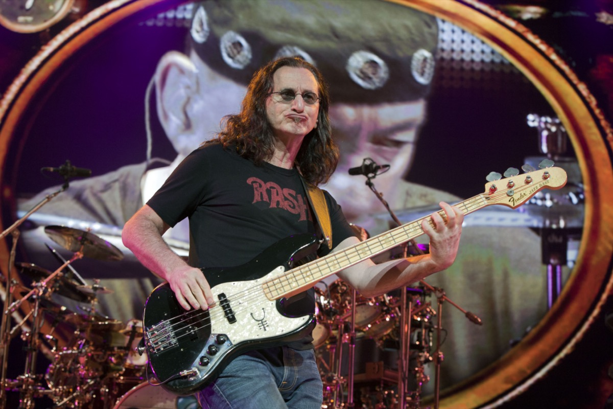 Geed Lee of rock band Rush at the Gibson Amphitheater in 2011