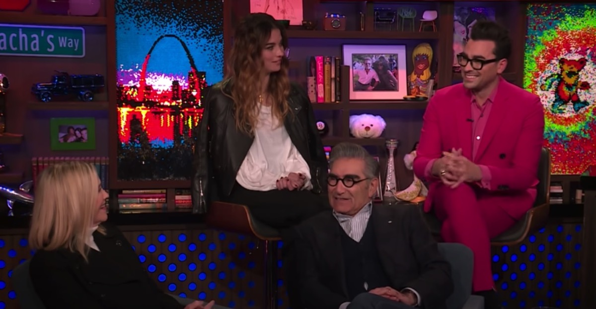 """The cast of Schitt's Creek on """"Watch What Happens Live With Andy Cohen"""" in January 2020"""