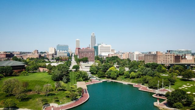 The skyline of downtown Omaha, Nebraska during the day