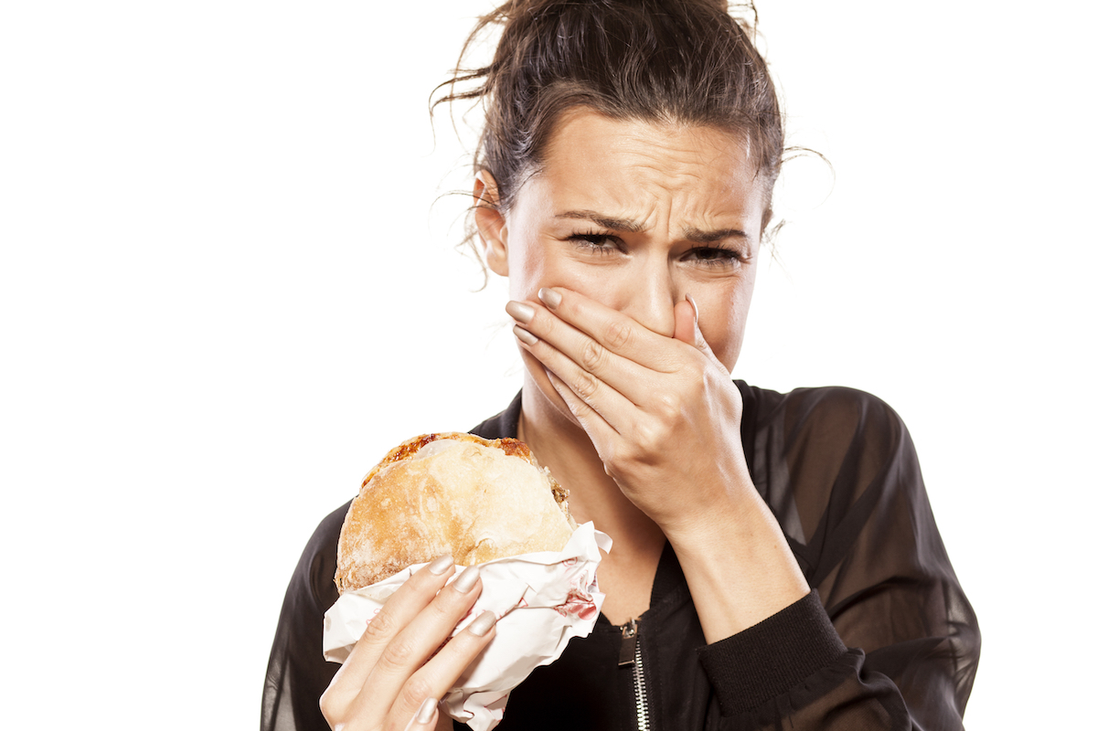 Woman is disgusted by her sandwich