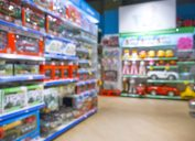 Blurred image of kids toy store background