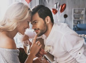 Couple celebrating Valentine's Day at home together