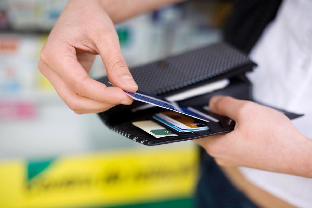 Card in a wallet