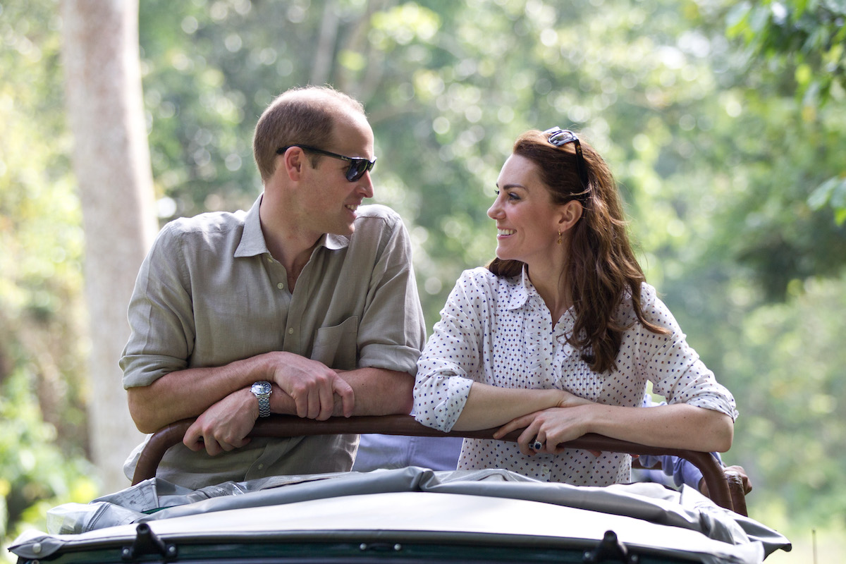 Catherine, Duchess of Cambride and Prince William, Duke of Cambridge ride in an open-air jeep on safari around the National Park at Kaziranga National Park on April 13, 2016 in Guwahati, India.