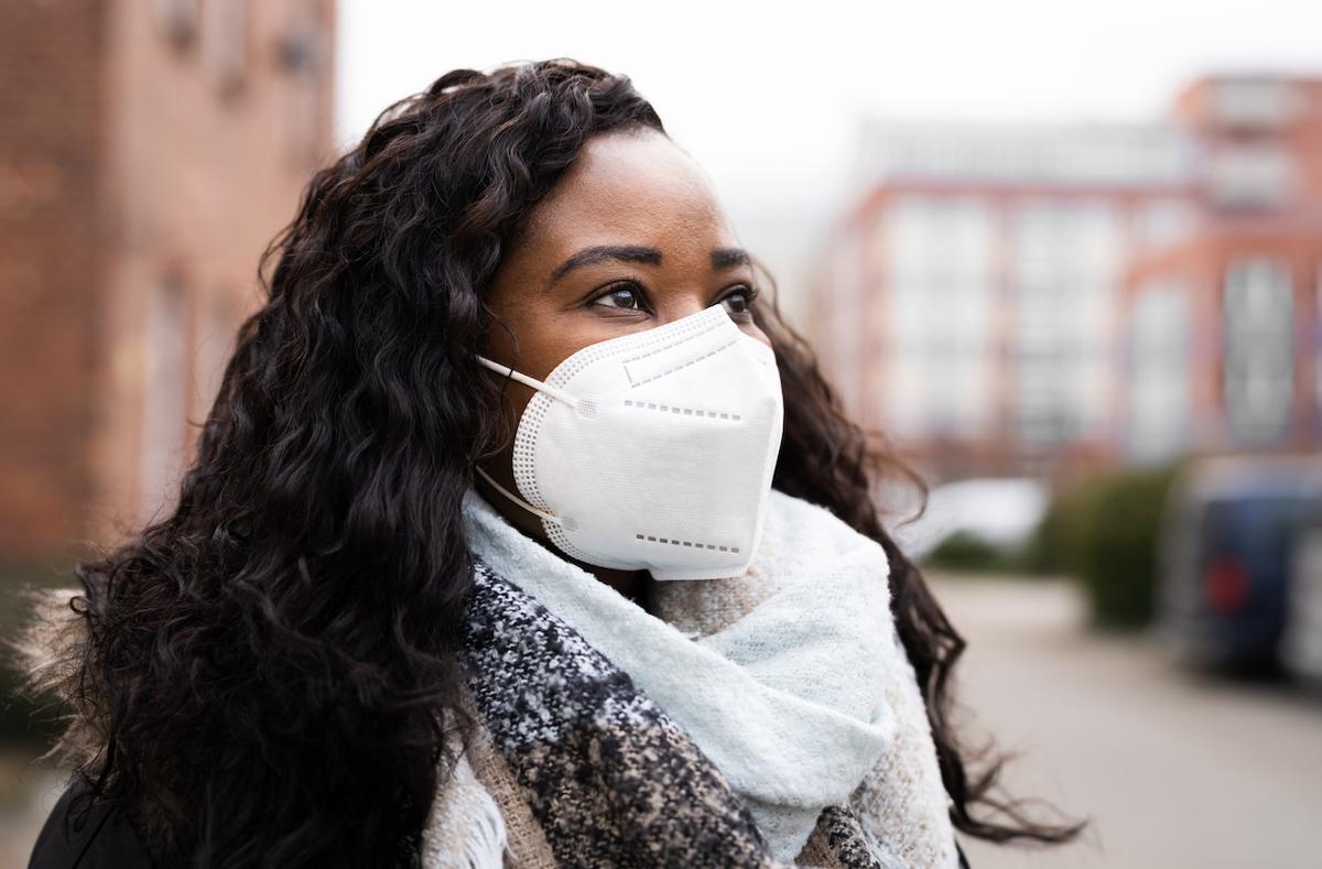 Woman Wearing N95 Medical Face Mask