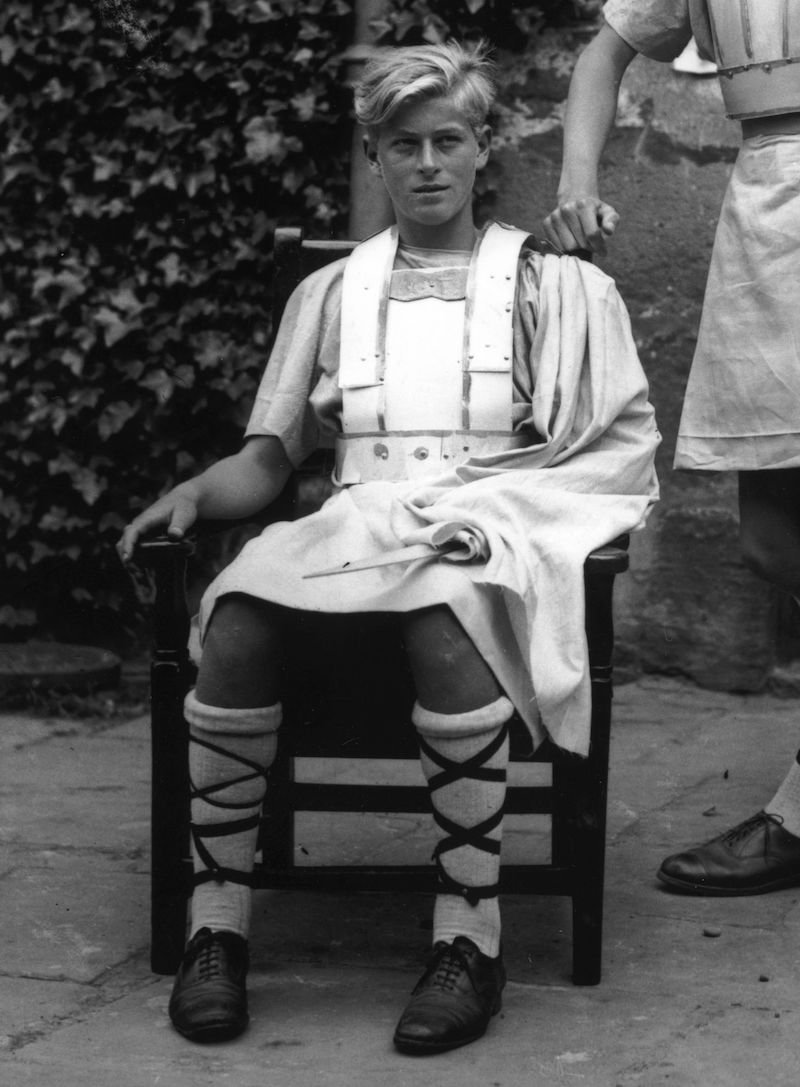 Schoolboy Prince Philip of Greece in costume for his school Gordonstoun's production of Macbeth. He later became Prince Philip Duke of Edinburgh.