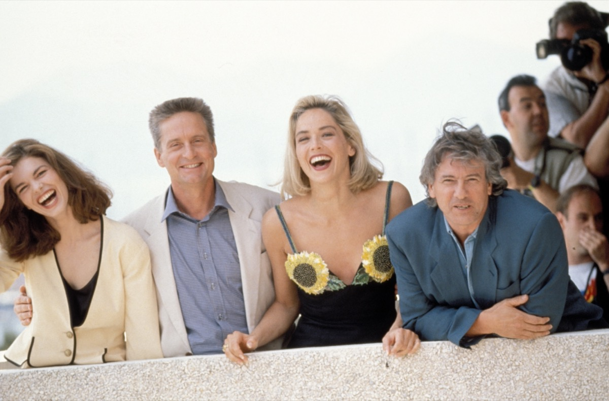 Jeanne Tripplehorn, Michael Douglas, Sharon Stone and Paul Verhoeven at Cannes in 1991