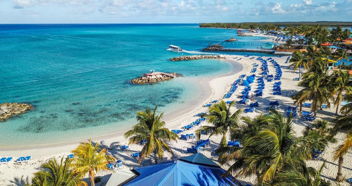 Beach on Princess Cays Island in The Bahamas
