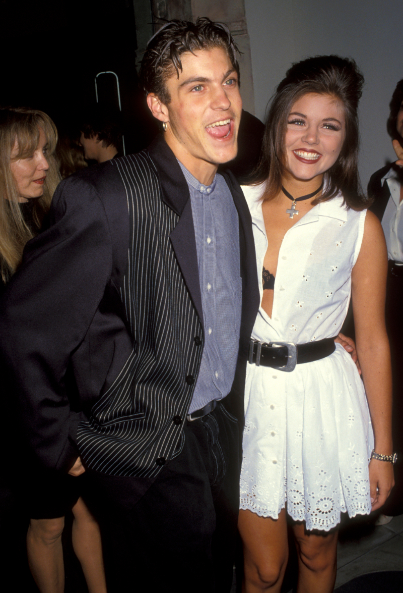 Brian Austin Green and Tiffani Thiessen at the opening of an Emperio Armani Boutique in 1993