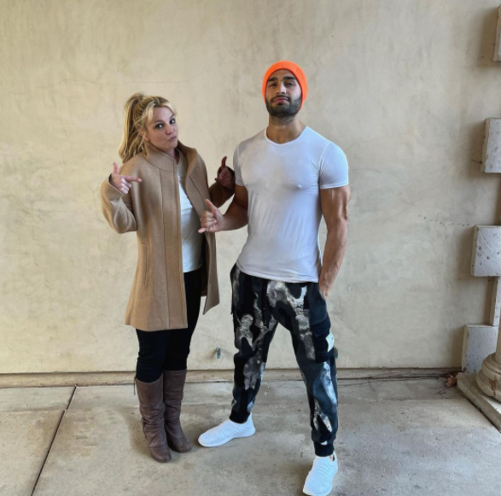 Britney Spears and Sam Asghari posing for an Instagram photo