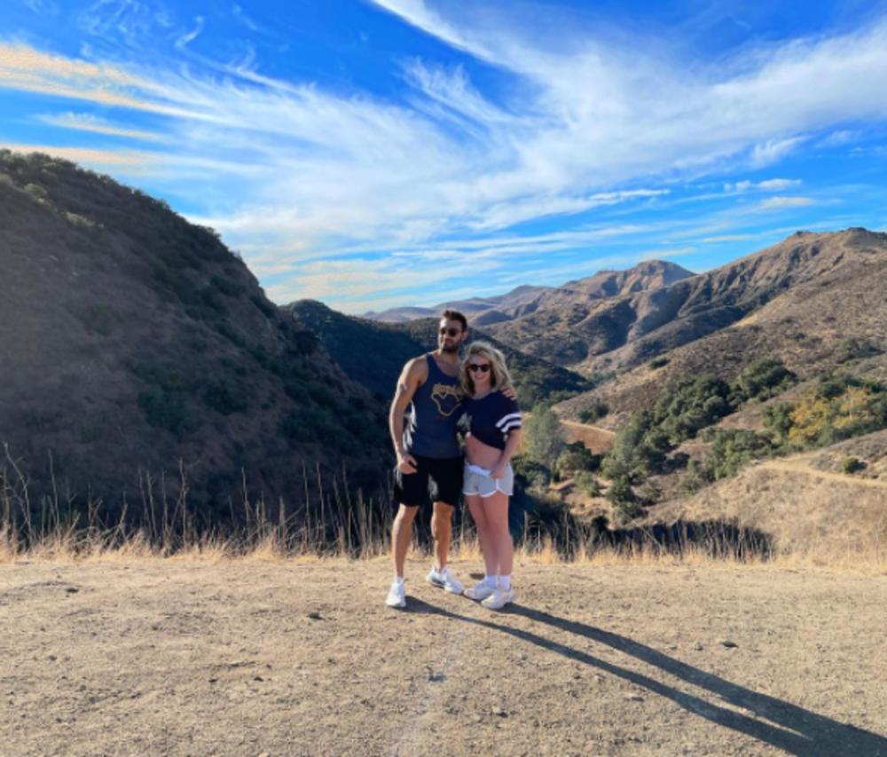 Britney Spears and Sam Asghari hiking.