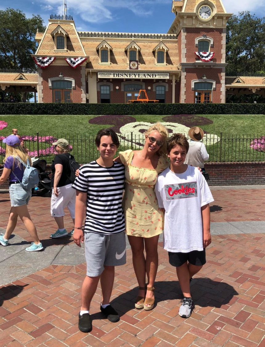 Britney Spears and her sons at Disneyland in 2019