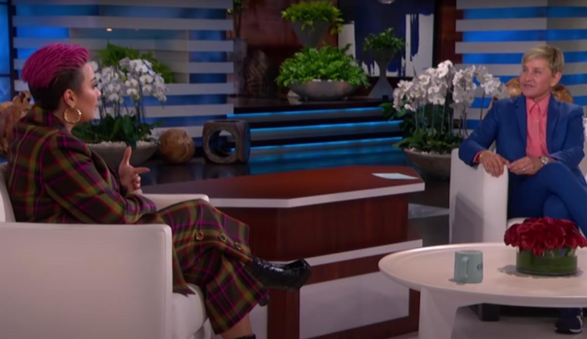 Ellen DeGeneres interviewing Demi Lovato on her talk show in February 2021