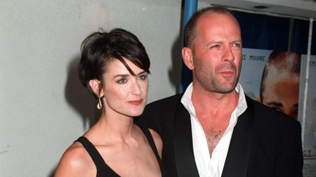 """Demi Moore and Bruce Willis at the premiere of """"G.I. Jane"""" in 1997"""