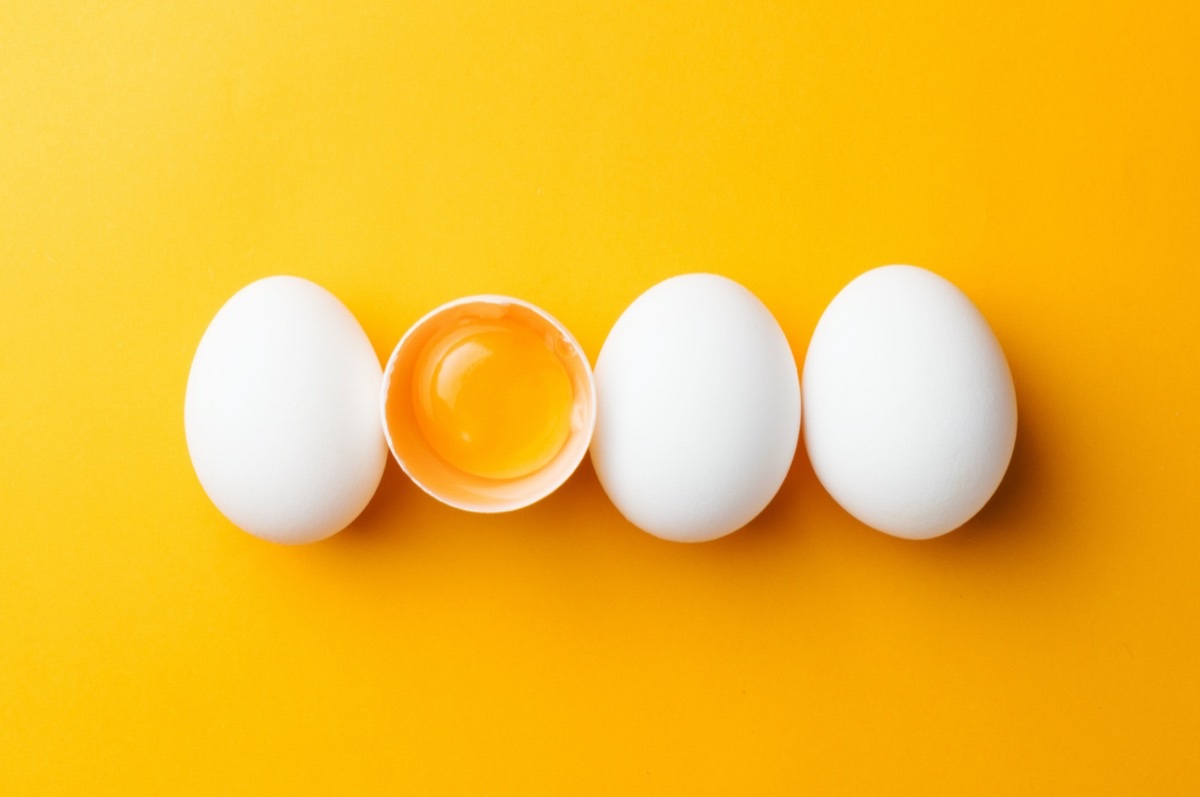 Eggs against yellow background