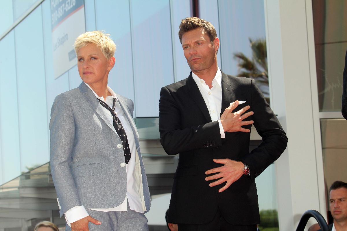 Ellen DeGeneres and Ryan Seacrest at her Hollywood Walk of Fame ceremony in 2012