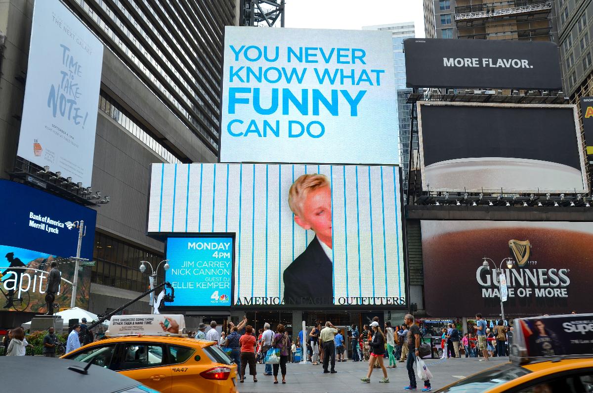"""An """"Ellen"""" billboard in Times Square in 2013"""